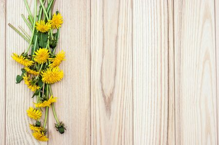 Dandelion flowers on the wooden background photo