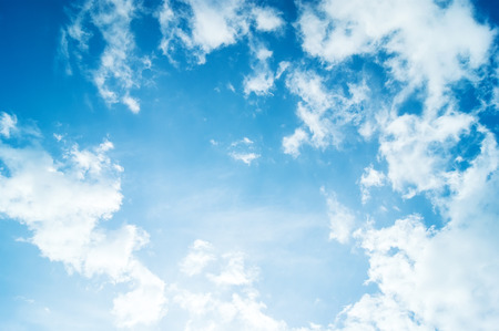summer background: beautiful blue sky with clouds and sun Stock Photo