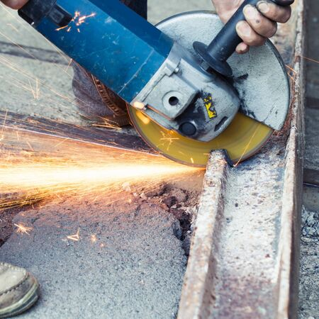 tool and die: Electric grinding wheel with steel construction in metal work factory