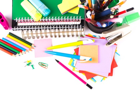 art school: School and office accessories on white background