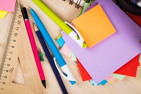 office accessories: School and office accessories on wooden background