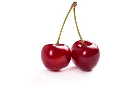 nice food: Красивые и сочные вишни на белом фоне