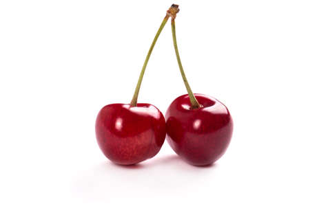 nice background: Nice and juicy cherries on a white background