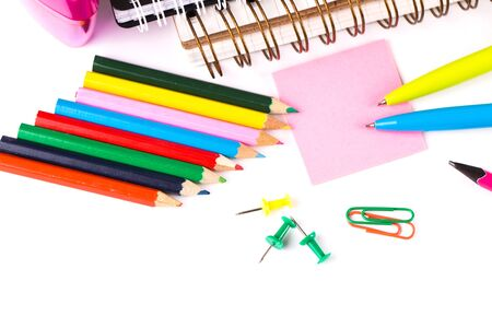 crayon  scissors: School and office accessories on white background