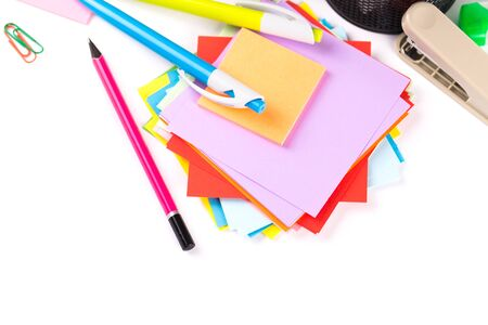 office accessories: School and office accessories on white background