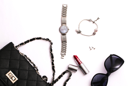 Fashion accessories on white background
