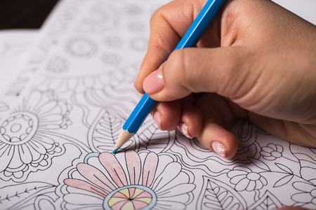 illustration line art: Girl paints a coloring book for adults with crayons