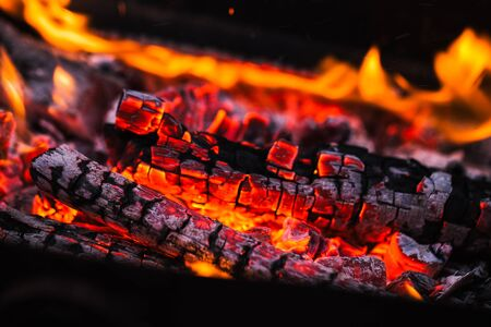 fire flames with sparks on the coals Stock Photo