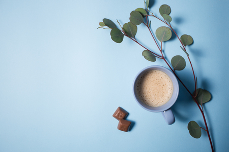 Coffee with chocolate chips and eucalyptus branch on a blue background
