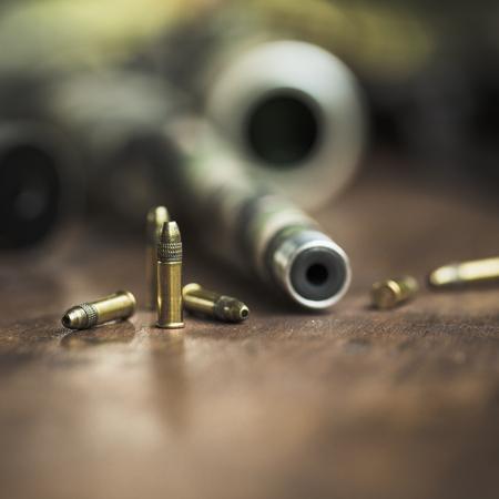옵티컬 시력과 위장 테이프가있는 소 구경 22 라이플 총