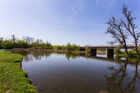 배경에 강이있는 녹색 잔디 스톡 콘텐츠 - 84793233