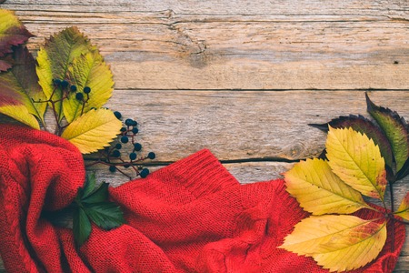 Autumn leaves and knitted sweater on a wooden background Stock Photo