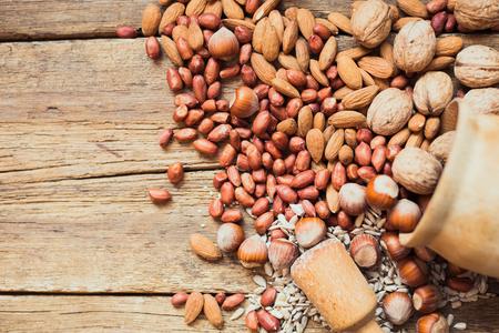 Mix of nuts Almonds, walnuts, peanuts, hazelnuts , sunflower seeds Stock Photo