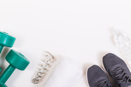 Running shoes with fitness accessories Stock Photo