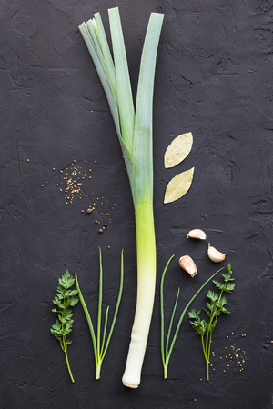 Fresh leek and garlic on a black background Banco de Imagens - 100734088