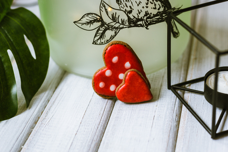 Cookies in the shape of heart. Valentine concept Banque d'images - 118466455