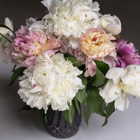 Beautiful bouquet of white and pink peonies
