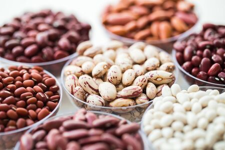 collection set of beans, legumes, peas, lentils on bowl on white background