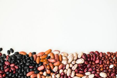 Different varieties of bean seeds on a white background.