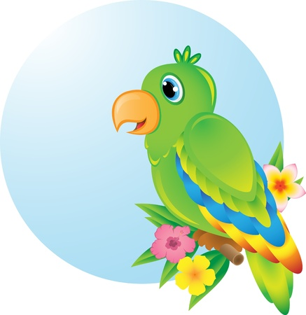 Colourful parrot sitting o a wooden perch Ilustracja