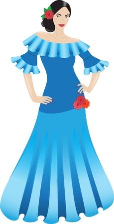 Schöne Flamenco-Tänzerin in einem blauen Kleid