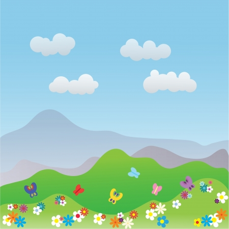 fluffy clouds: Beautiful summer landscape with colourful flowers and butterflies