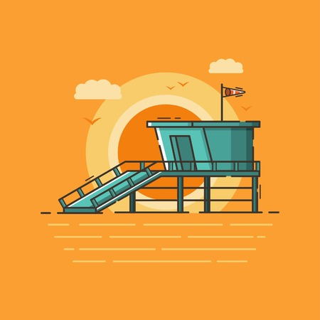 Beach guard tower. Line art style illustration.