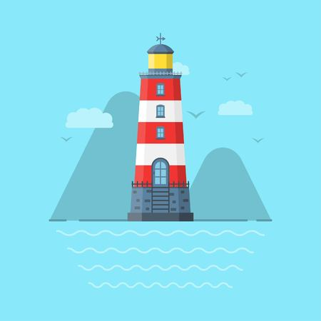Vector illustration of the lighthouse on the beach.