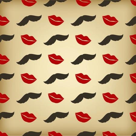 Patrón retro con bigote y labios besos Ilustración de vector