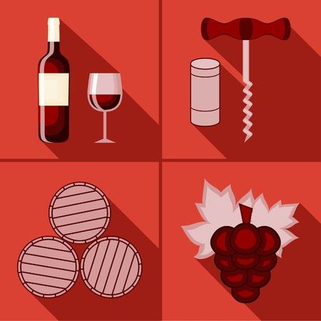 Set of flat icon of wine theme
