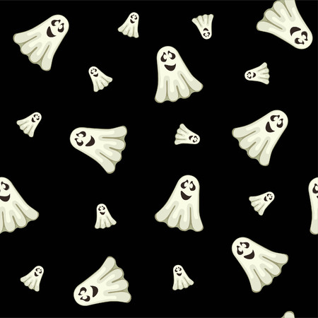 Halloween seamless pattern with ghosts
