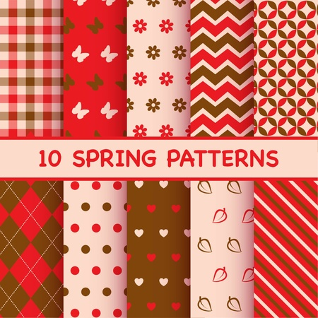 Set of spring patterns Ilustracja