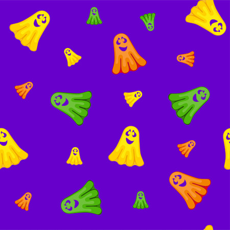 Halloween seamless pattern with funny ghosts