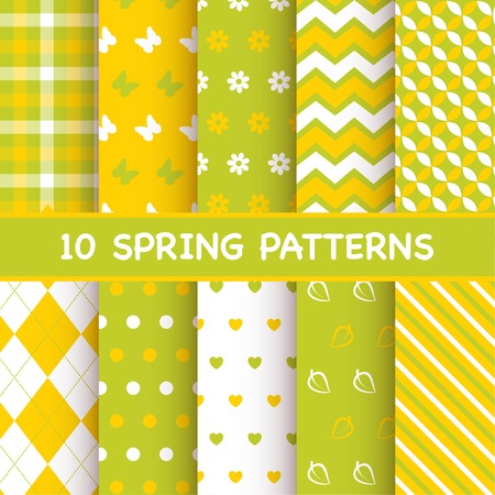 Set of spring patterns Illustration