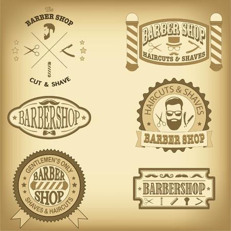 Barber shop vintage design templates set