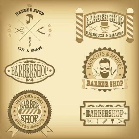 Barber shop vintage design templates set
