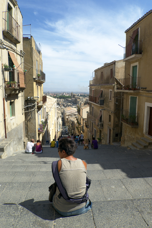 commune: Caltagirone the staircase of S. Maria of the Mountain Stock Photo