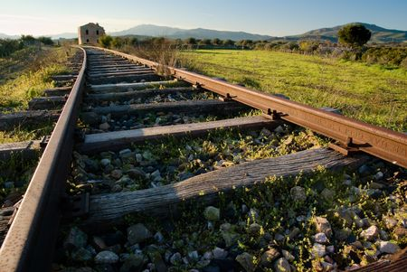 railtrack: landscape for a old railway abandoned Stock Photo