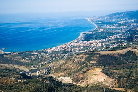 Panorama aerial on the sea and the home of village of a coast photo