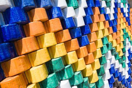 polychrome:  artistic decoration of coated ceramic glaze polychrome Stock Photo