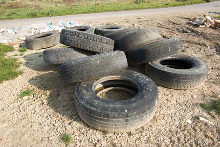 wornout: tires discarded Stock Photo