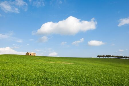 landscape for a field with a farm Stock Photo - 3372116