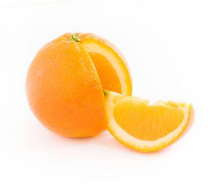 slice and orange citrus isolated on white background Stock Photo - 3380594