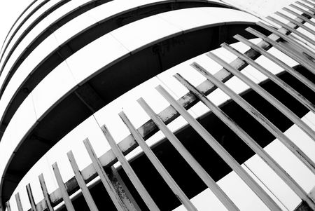 abstraction of curves for modern building (black and white) photo