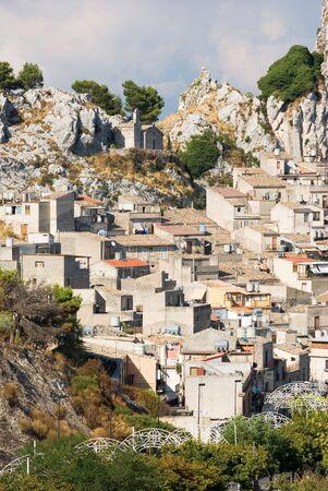 caltabellotta: village of caltabellotta and rock small church