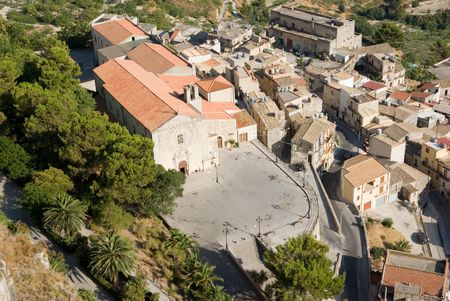 caltabellotta: aerial view of church and old Calatabellotta village
