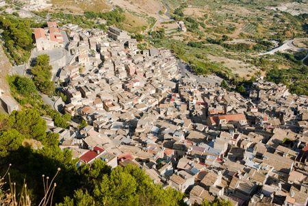 caltabellotta: aerial view roof of old Calatabellotta village