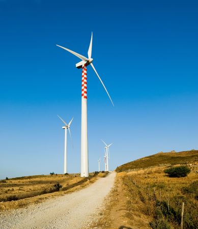 Generators electricity to wind dirt road Stock Photo - 3776749