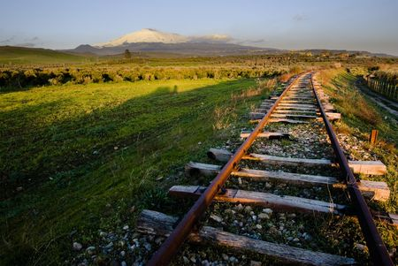railtrack: landscape for old railway abandoned and volcano Etna Stock Photo