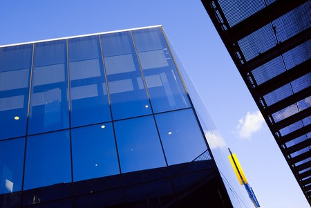 blue glass of modern building photo